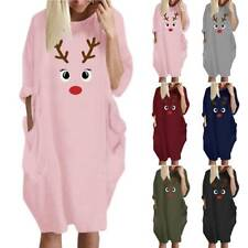 Plus Size Women Casual Tunic Dress Xmas Ladies Loose Pocket Pullover Jumper Tops