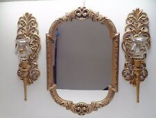 VINTAGE Wall Mirror Gold Ornate Frame Hollywood Regency with 2 Sconces & Votives