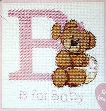 B is for Baby Girl - Birth Sampler - Semco cross-stitch kit - with frame