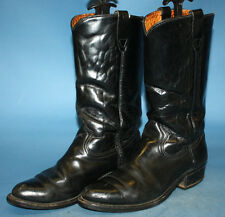 VINTAGE BLACK LEATHER MOTORCYCLE/BIKER/POLICE STYLE ARMOR TRED BOOTS sz 8 EE