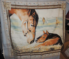 Horse and Foal Cotton fabric panel 33x39 inches