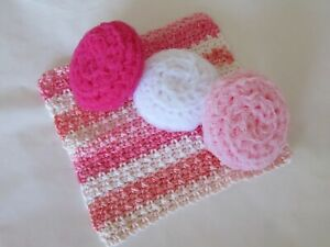 Handmade Dishcloth, Crocheted Washcloth, Dish Scrubber, Pot Scrubby, Pink