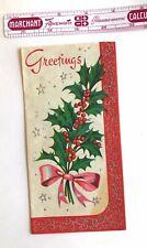 1950s Vintage Christmas Card Holly Mcm Glitter Hawthorne Sommerfield Nos