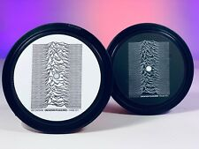 More details for joy division - 2 vinyl record label coasters. unknown pleasures. love will tear