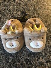 Baby Girls size 6 Princess Teddy Bear Slippers Plush Soft Fabric Sole Dot Grips