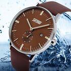 SKMEI® Simple Men's Date Slim Leather Band Dress Casual Quartz Wrist Watch