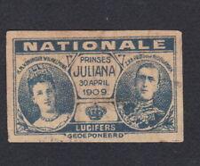 Ancienne  étiquette   allumettes Hollande BN67747 Reine Juliana 3