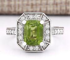 3.67 Carat Natural Peridot 14K White Gold Diamond Ring
