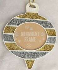 "Goldtone Silvertone 4X4"" Christmas Ball Ornament Frame Holds 2X2.5"" Photo"