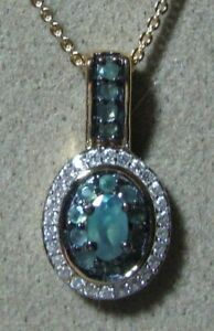 """Natural Alexandrite Pendant and Necklace, Zircons, 20""""L  14k gold over silver"""