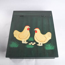 Wood Art Writing Lap Desk Hinged Storage Box Country Farmhouse Chickens