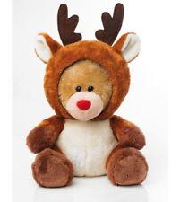 "NEW~CHRISTMAS ""REINDEER"" BEAR - FOLDING BEAR WITH REINDEER HOOD - APPROX 6"" HIGH"