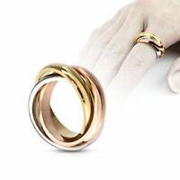 Damenring Triple Ring Gelbgold Silber Rosegold Farben aus Edelstahl Band Ring