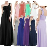 New One-shoulder Chiffon Bridesmaid Dress Ladies Long Evening Prom Gown Cocktail