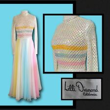 Vintage 1970s LILLI DIAMOND of California Pastel Acrylic Sequin Chiffon Dress