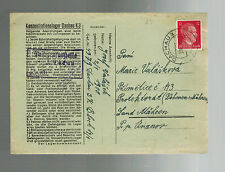 1941 Germany Dachau Concentration Camp Cover to Bohemia Josef Valasek KZ w/ltr