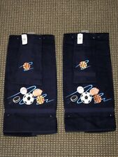2 sports monogrammed bath towels + 2 hand towels. NEW / UNUSED