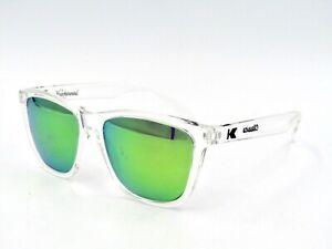 Knockaround Classics Unisex Polarized Sunglasses, Clear / Green Mirror #57I