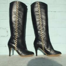 FRENCH CONNECTION Leather Boots Size Uk 5 Eur 38 FCUK Womens Pull on Black Boots
