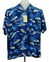 Carribean Mens XL Silk Button Shirt Ocean Liner Blue Vacation Top