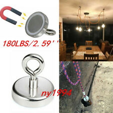 180LBS/2.59''Fishing Magnet Strong Neodymium Round Thick Eyebolt Hunt Pull Force