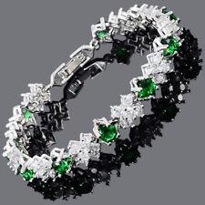 Wedding Gift 18K White Gold Plated Cubic Zirconia Emerald Green Tennis Bracelet