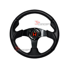 320mm JDM Racing Sport Steering Wheel All Black PVC Leather Horn Button