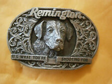 Vintage Mens Remington Hunting Dog It's What You're Shooting For Gun Belt Buckle