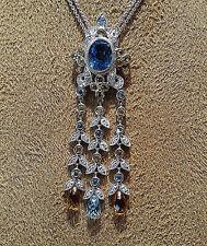 "18K White Gold  Chandelier Neckace with Diamonds & Topaz 16"" double chain,NEW!!"