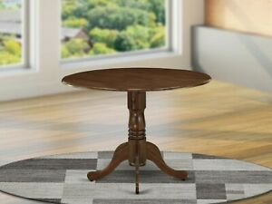 """42"""" Round Dublin drop-leaf pedestal kitchen table in walnut finish with 2 leaves"""