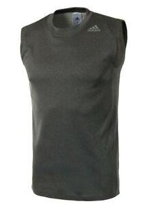 Adidas Men FreeLift Sleeveless Shirts Jersey Dark-gray Running Top Shirt DU1183