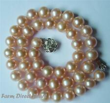 "18"" Lustrous AAA+ Genuine Cultured 9-10mm Peach Pearl Strand Necklace Freshwater"
