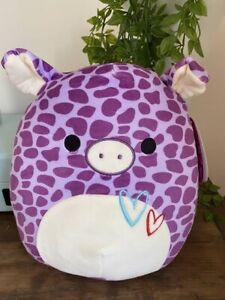 "Brand New With Tags Valentines 2021 Squishmallow Pammy Pig 10"" RARE"
