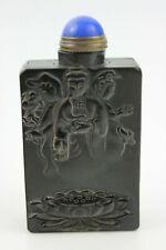 Chinese Hand Craved Old Yak-Horn Snuff Bottle 2 Sides Buddha, Guan-Yin & Crane