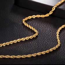UK 24k Gold Plated Stainless Steel Rope Twist Chain for Men Chain 24 inch 5mm