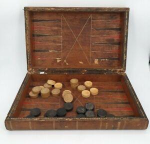 Jeu de Backgammon ancien XIX ème s, trompe l'oeil façon livre