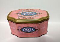Rare Vintage Hershey's Kisses Victorian Pink Metal Tin Chocolate kisses tin box