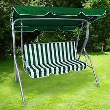 Hollywoodschaukel Gartenschaukel Outdoor Indoor 3 Sitzer Grün Weiß Silber