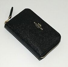 NWT COACH BLACK CARD CASE HOLDER ZIP AROUND LEATHER SMALL F27569 $75