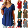 Women Short Sleeve Casual V Neck Loose Tops Blouse Summer Casual Solid Shirt USA