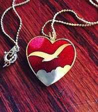 Gold Tone Red Enamel Heart Pendant & Chain Seagull in Clouds