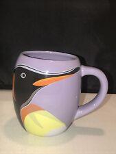 SeaWorld Busch Gardens Large Penguin Purple Coffee Mug Cup 4.5� Tall 3� Wide Euc