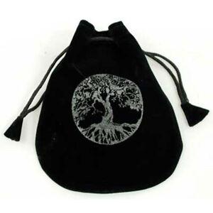 """NEW Tree of Life Drawstring Bag Runes Dice Crystals 5"""" Black Velvet"""