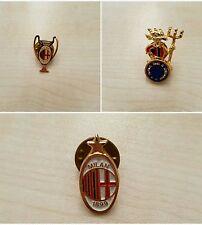 3 Spille Calcio AC Milan Scudetto Badge Pin Distintivo Champions League Rare