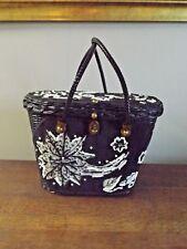 Vintage MIDAS of MIAMI Black/White Floral Beaded Wicker Basket Purse 12x9x7