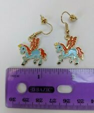 Dangle Earrings Pair Blue & Red Unicorn Pegasus Unipeg Pony 22mm Pierced
