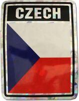 """Czech Republic Country Reflective Decal Bumper Sticker 3.875"""" x 3"""""""