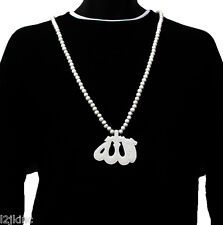 Mens White Alah Pendant Wood Hip Hop Ball Beaded 36 Inch Chain Necklace