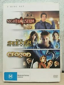 Night At The Museum / The Seeker / Eragon DVD 3 movie pack R4 Terrific Condition