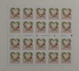 US SCOTT 3274a BOOKLET OF 20 FLORAL HEART LOVE STAMPS 33 CENT FACE MNH